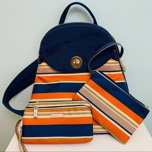 Pacific Stripe Gold Cairo Backpack by Baggallini